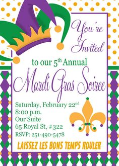 Mardi Gras Invitation  DIY Printable by MemoryMakerStudio on Etsy