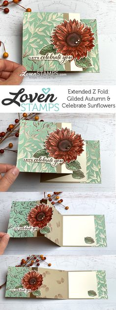 Simple Fancy Card Layout - Extended Z Fold: Watercolor Sunflowers for Fall - LovenStamps Fancy Fold Cards, Folded Cards, Unique Cards, Creative Cards, Creative Ideas, Harvest Moon, Stampin Up, Sunflower Cards, Stamping Up Cards