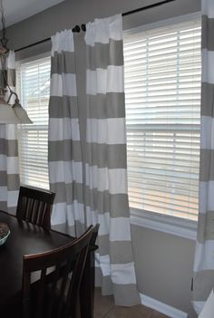 DIY striped painted curtains matching wall color