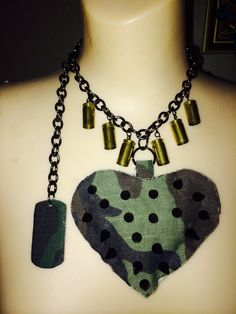 Chunky Stuff Camouflage Spiked Heart by PiidaDiida on Etsy