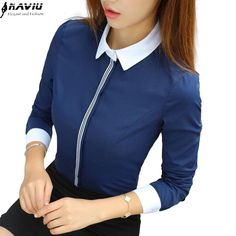 New fashion women cotton shirt spring formal elegant patchwork blouse office ladies work wear plus size tops navy blue white Latest Fashion For Women, New Fashion, Fashion Outfits, Womens Fashion, Fashion Clothes, Cream T Shirts, Formal Shirts, Formal Tops, Spring Shirts