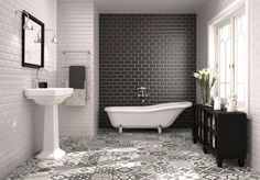 Use of #Bathroom #Metrotiles with a patterned floor tile adds extra style dynamic www.thetilehouse.co.za