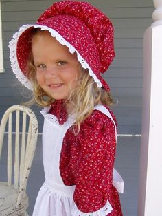 New Girls Pioneer Prairie Dress Costume Red by PioneerPieces, $68.00