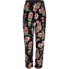 Girls black floral trousers - trousers / leggings - girls