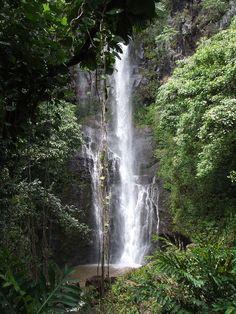Hawaii If you drive the Road to Hana on Maui, you may encounter hidden waterfalls like this. Honeymoon Vacations, Hawaii Honeymoon, Hawaii Vacation, Maui Hawaii, Hawaii Travel, Dream Vacations, Vacation Spots, Honeymoon Ideas, Vacation Destinations
