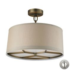 This series offers subtle sophistication through its unique frame design and quality details such as turned candle holders and decorative oval shaped links. Beige fabric shades combined with a brushed antique brass finish acknowledge the collections histo Elk Lighting, Flush Mount Lighting, Wall Sconce Lighting, Pendant Lighting, 3 Light Pendant, Lamp Light, Exterior Light Fixtures, Kitchen Ceiling Lights, Drum Chandelier