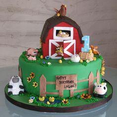 Animal Jungle Safari Theme Kids Birthday Party Cakes and Cupcakes - Mumbai Farm Birthday Cakes, Farm Animal Birthday, 3rd Birthday, Birthday Ideas, Bithday Cake, Baby Cakes, Cupcake Cakes, Dog Cakes, Barnyard Cake