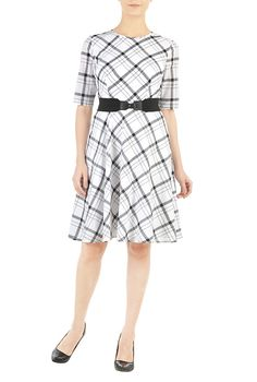 I <3 this Elastic belted woven cotton check dress from eShakti