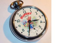 A vintage pocket watch. It has character Rupert Bear upon the enamelled dial. Top winding and set for the mechanical movement. A nice watch Free worldwide shipping Old Pocket Watches, Bear Character, Vintage Pocket Watch, Book Crafts, Cool Watches, Will Smith, Childrens Books, Fingers, Clocks