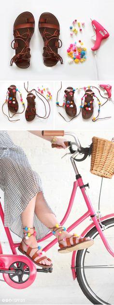 MY DIY | Lace-up Pom Pom Sandals