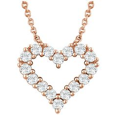 14K Rose Gold 0.25 Carat Diamond Heart Necklace ($725) ❤ liked on Polyvore featuring jewelry, necklaces, rose gold diamond necklace, 14 karat gold heart necklace, heart shaped necklace, pink gold necklace and rose gold jewelry