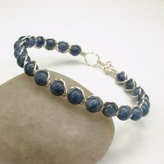 Blue Sodalite Gemstone Argentium Sterling Silver Twisted Wire Bracelet | healingcrystaljewelry - Jewelry on ArtFire
