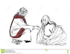 Bible stories in John 8 about Jesus and Adulteress; Hand drawn Illustration Christianity Education