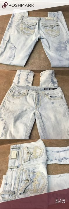 """Miss Me Jeans Rare and beautiful Miss Me Jeans These jeans are awesome!! They are a white washed with tye dye finish. Straight Leg, Factory distressed. gorgeous!!! Waist =15 """"across  Rise =7"""" Inseam =32"""" Any questions? Just ask😊😊 Miss Me Jeans"""