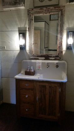 Beautiful vintage cast iron sink and cabinet!