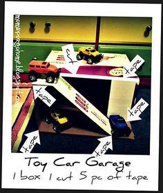 Toy Car Garage DIY  1 box, 1 cut, 5 pc of tape.