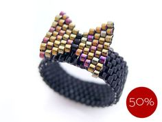 Gold Bow Beaded Ring, Black Ring, Preppy Style, OOAK - 50% Off - Price Already Marked Down