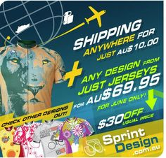 Did you know we ship SprintDesign Jerseys anywhere for only AU$10? Also, to pump the deal up, in June we offer any design from Just Jerseys for only AU$69.95.    http://sprintdesign.com.au/just-jerseys-store.html#axzz1w7bD1mdT    Check it out!    ;D