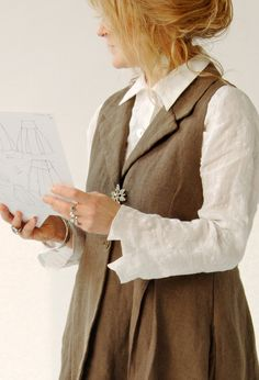 Long Scoop Waistcoat over Pointed Collar Shirt.