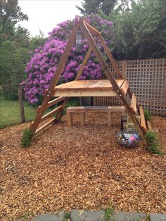 A-framed play structure. No directions, just a picture that can be used for inspiration. I hope Ana White is working on a plan. :)