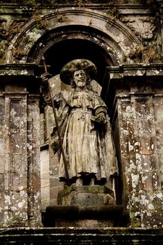 Statue at the cathedral in Santiago De Compostela