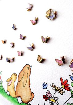 Nursery Art. Colourful watercolour with 3D butterflies. New Baby Gift idea. Nursery Decor Ideas. Nursery Animal Art. Baby Shower Gift.  www.QuillArtuk.etsy.com
