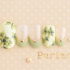 I'm not particularly about green, but this is lovely! Diy Nails, Cute Nails, S And S Nails, Water Color Nails, Nail Art Set, Kawaii Nails, Japanese Nails, Nail Patterns, Green Nails