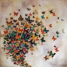 """Saatchi Art Artist: Lily Greenwood; Acrylic 2013 Painting """"SOLD Butterflies on Pale Ochre"""""""