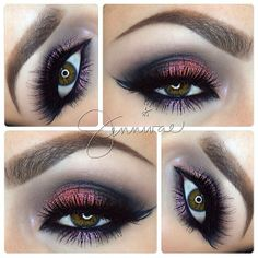 "This color combo by @Jenny Turner is so outstanding.  Lashes #houseoflashes ""Siren"" & ""Noir Fairy"" stacked."