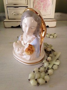 Ceramic Blessed Mother with Gold Highlights Beautifully