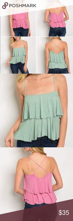 """⭐️ruffle layer cross-back soft tank pink or green 🌸Soft ruffle cross-back tank in pink or green (teal) (see other listing in boutique for green) ▫️length: 27""""▫️NWT ▫️fast shipping (mailed out within 1 day of order) ▫️free gift with purchase ▫️bundle to save up to 30%. Twilight Gypsy Collective Tops Tank Tops"""