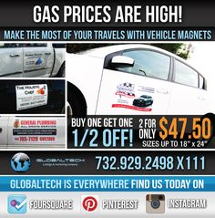Buy one get one 1/2 off vehicle magnets. #globaltech #globaltechnj #print #marketing #design #vehiclemagnets