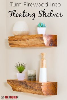 DIY Floating Shelves are all the rage, but these are one of a kind! Turn firewood into a rustic floating shelf with invisible mounting hardware. Full video tutorial inside!