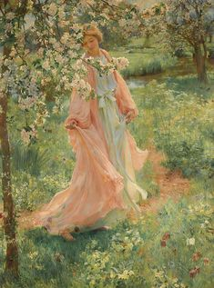 "Herbert Arnould Olivier (British, 1861-1952), ""Summer is i…   Flickr Renaissance Kunst, Renaissance Paintings, Victorian Paintings, Victorian Art, Aesthetic Painting, Aesthetic Art, Aesthetic Outfit, Aesthetic Themes, Aesthetic Clothes"