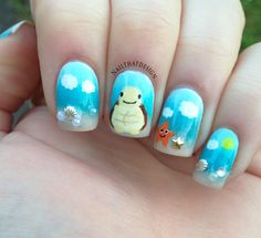 The Cutest Animal Nail Art 2014 - The most beautiful nail designs Beach Nail Art, Beach Nail Designs, Nail Tip Designs, Beach Nails, Acrylic Nail Designs, Turtle Nail Art, Turtle Nails, Nail Art For Kids, Cool Nail Art