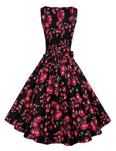 Women's Vintage/Party/Plus Sizes Flower Print 1950's Prom Swing Dress (Polyester/Cotton Blends) 4018179 2016 – $19.99