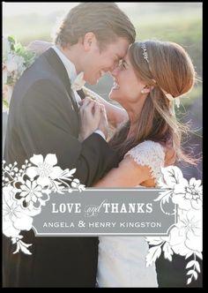Thank you card - wedding paper divas