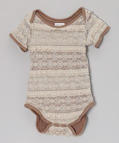 Take a look at this Taupe Lace Bodysuit - Infant by Sidaka Kaye Clothing on #zulily today!