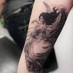 Hypnotizing black and gray Virgo angel half-sleeve tattoo