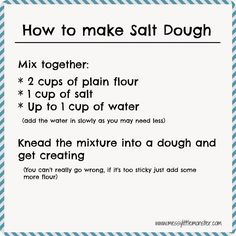 Simple instructions on how to make salt dough (printable salt dough recipe). Includes salt dough craft ideas for kids and details on colouring, drying out, sealing and storing salt dough.