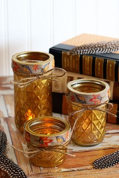 Quilted Mason Jar Candle Holder DIY - House of Hawthornes