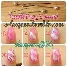 s-lacquer: NEEDLE DRAG TUTORIAL You will need: two or more polishes and a needle! WARNING: Needing dragging is difficult to master, even I take several tries per nail. I recommend using polishes that aren't too runny, and don't dry too fast. You will need to look over this tutorial and know the steps because you need to work fast and have a steady hand, or the polish will dry, making it difficult to drag. Paint your base color, wait until it dries completely. Once dry, paint a small diagonal…