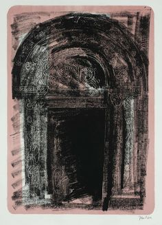 yama-bato: John Piper Title Kilpeck, Herefordshire: the Norman South Door From A Retrospect of Churches Date 1964 John Piper Artist, Herefordshire, Pastel, A Level Art, Portraits, Architecture Art, Illustrators, Prints, Artwork