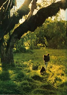 Diane Fossey.amazing pic her with her and her gorillas following ♡