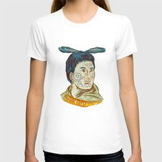 Maori Chieftain Warrior Head Drawing T-shirt. Drawing sketch style illustration of Maori chief warrior chieftain head with tattoos on face and feather on head set on isolated white background.  #illustration #MaoriChieftainWarrior