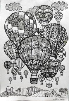 Hot Air Balloons Doodle art