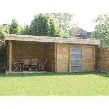 abri de jardin toit plat avec porte coulissante et terrasse ...