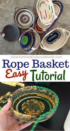 How to Make a Rope Basket - One Hundred Dollars a Month - Today my friend Zoe is popping over to do a super fun guest post. Thanks for sharing your skills wi - Rope Basket, Basket Weaving, Fabric Basket Tutorial, Purse Tutorial, Fabric Bowls, Rope Crafts, Diy Crafts, Recycled Crafts Kids, Crochet Rope