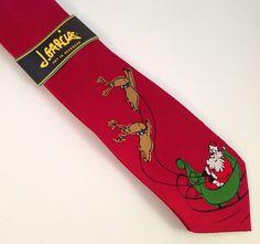 J Jerry Garcia Merry Christmas Tie Santa Claus Reindeer Mens Silk Neck NEW NWT #JJerryGarcia #ChristmasTie