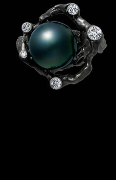 Jewellery Theatre: Jewellery Eden, 18k white gold, diamonds, dark pearl.